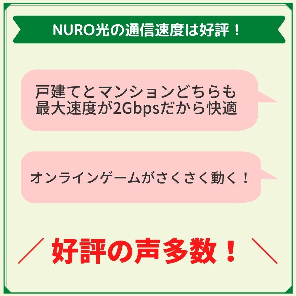 評判で見るNURO光の通信速度は断トツに速い!
