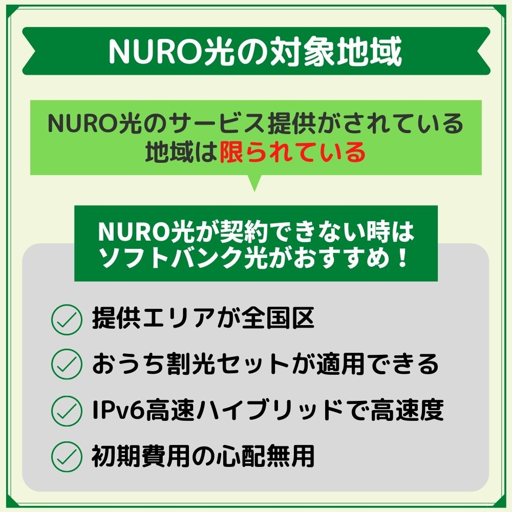 NURO光の対象地域|対象地域外ならソフトバンク光を申し込もう!