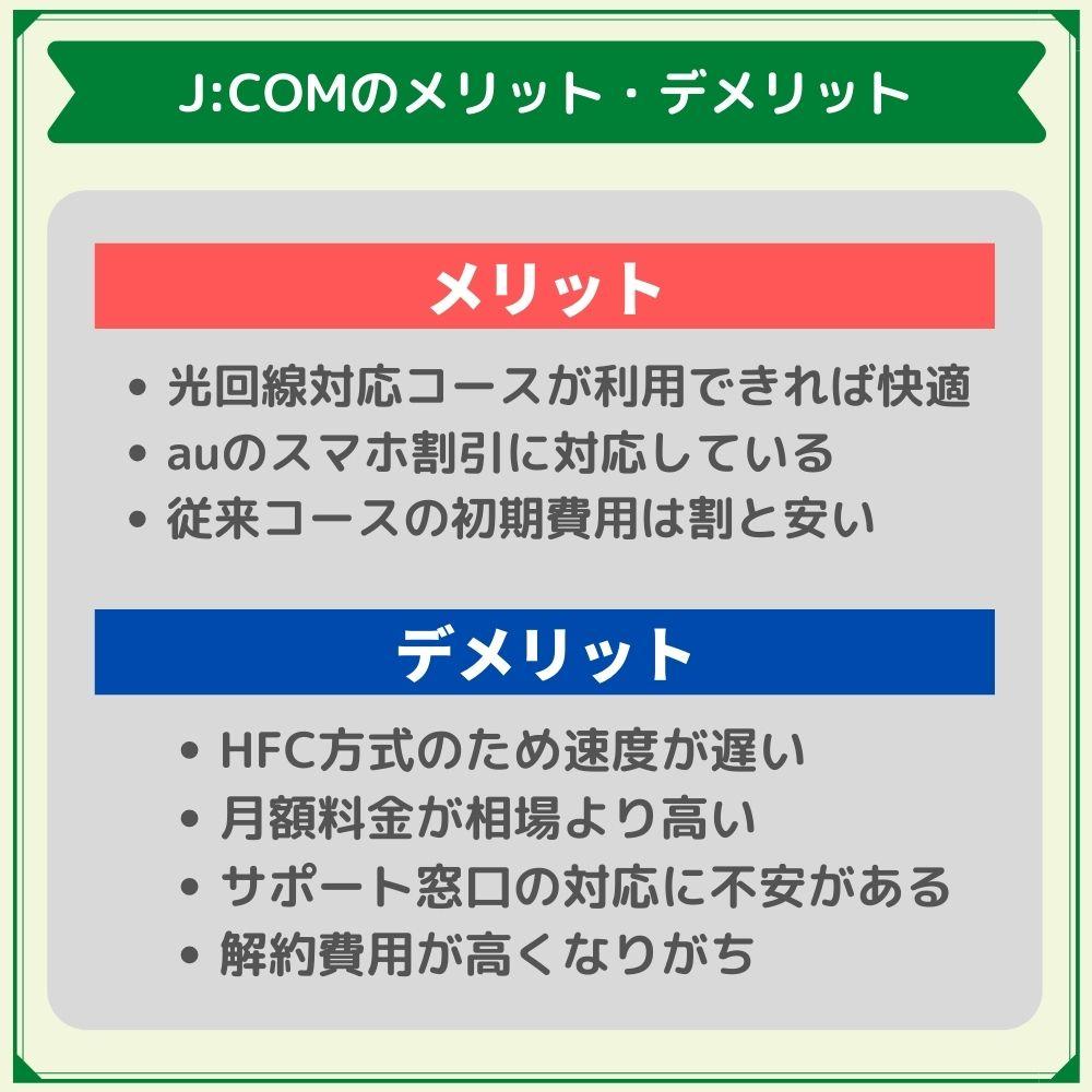 J:COMJ:COMのメリット・デメリットのネット回線の評判