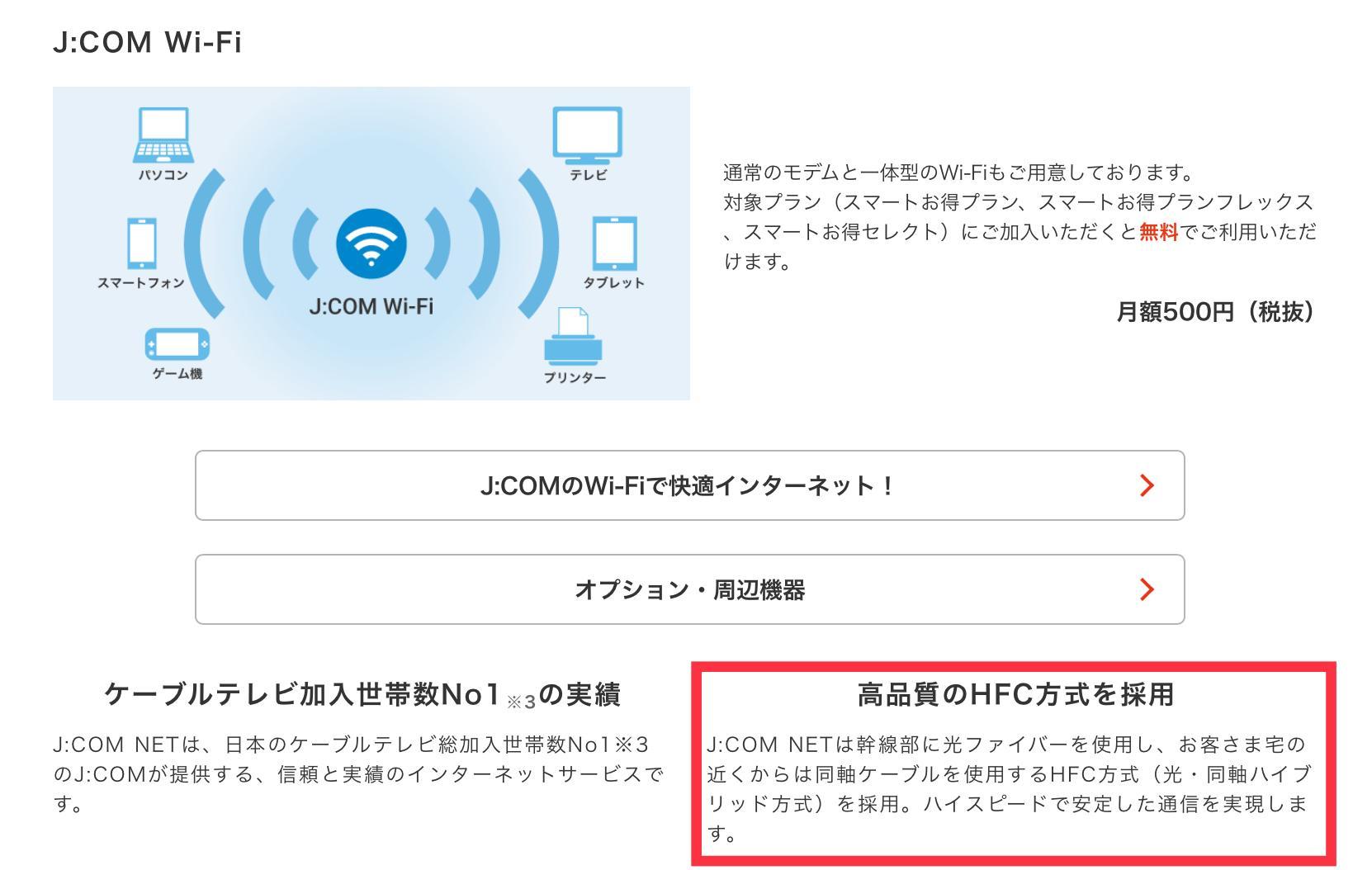 J:COMの光回線はHFC方式