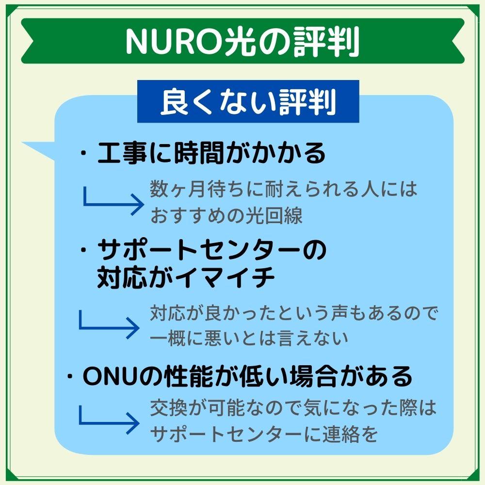 NURO光の良くない評判は?