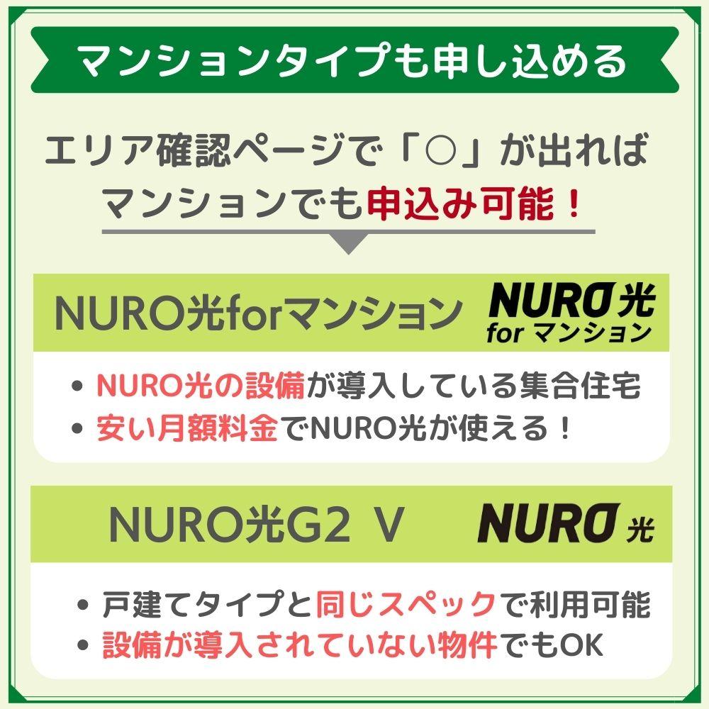 NURO光の対象地域内であればマンションでも申し込める!