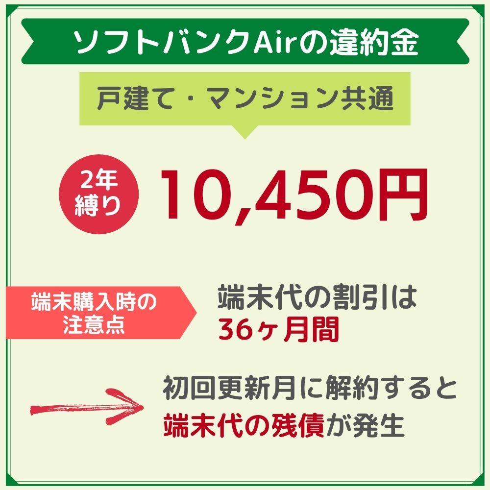 ソフトバンクAirの違約金は10,450円!